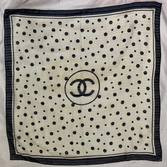Chanel Navy & White Silk Chiffon 90cm Scarf